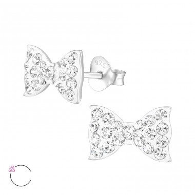 Bow - 925 Sterling Silver Crystal Ear Studs A4S32776