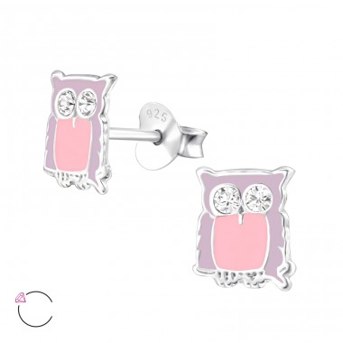 Owl - 925 Sterling Silver Crystal Ear Studs A4S32779