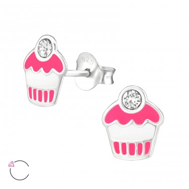 Cupcake - 925 Sterling Silver Crystal Ear Studs A4S32780
