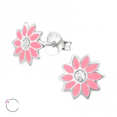 Flower - 925 Sterling Silver Ear studs with crystals A4S32781