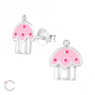 Cupcake - 925 Sterling Silver Crystal Ear Studs A4S32783