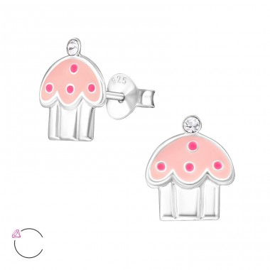 Cupcake - 925 Sterling Silver Ear studs with crystals A4S32783