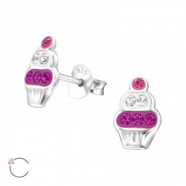 Cupcake - 925 Sterling Silver Crystal Ear Studs A4S32784