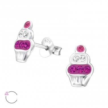 Cupcake - 925 Sterling Silver Ear studs with crystals A4S32784
