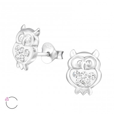 Owl - 925 Sterling Silver Crystal Ear Studs A4S32785