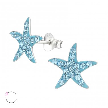 Starfish - 925 Sterling Silver Crystal Ear Studs A4S32788