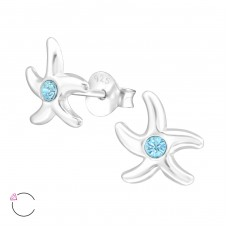 Starfish - 925 Sterling Silver Crystal Ear Studs A4S32790