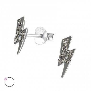 Tunderbolt - 925 Sterling Silver Crystal Ear Studs A4S32791