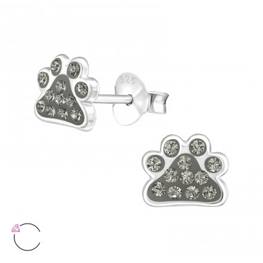 Paw Print - 925 Sterling Silver Crystal Ear Studs A4S32794