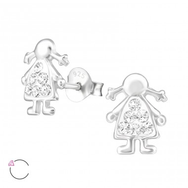 Girl - 925 Sterling Silver Crystal Ear Studs A4S32795