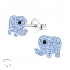 Elephant - 925 Sterling Silver Crystal Ear Studs A4S32796