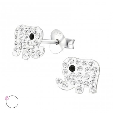 Elephant - 925 Sterling Silver Ear studs with crystals A4S32797