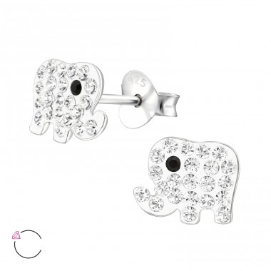 Elephant - 925 Sterling Silver Crystal Ear Studs A4S32797