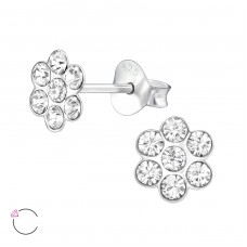 Flower - 925 Sterling Silver Crystal Ear Studs A4S32803