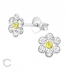 Flower - 925 Sterling Silver Crystal Ear Studs A4S32804