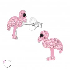 Flamingo - 925 Sterling Silver Crystal Ear Studs A4S32805