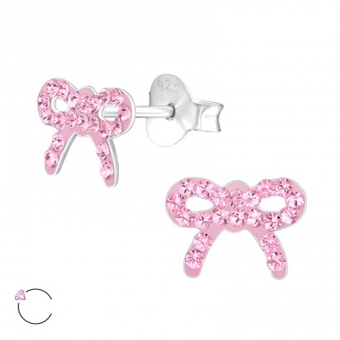 Bow - 925 Sterling Silver Crystal Ear Studs A4S32806