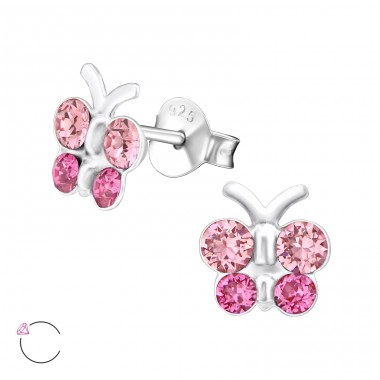 Butterfly - 925 Sterling Silver Ear studs with crystals A4S32807