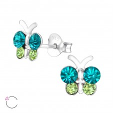Butterfly - 925 Sterling Silver Crystal Ear Studs A4S32808