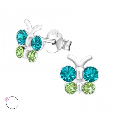 Butterfly - 925 Sterling Silver Ear studs with crystals A4S32808
