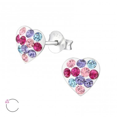 Heart - 925 Sterling Silver Ear studs with crystals A4S32809
