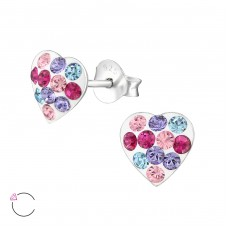Heart - 925 Sterling Silver Crystal Ear Studs A4S32809