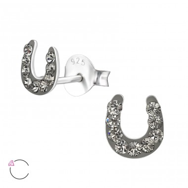 Horseshoe - 925 Sterling Silver Crystal Ear Studs A4S32810