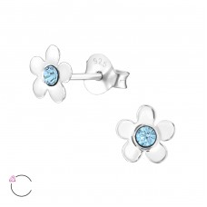 Flower - 925 Sterling Silver Crystal Ear Studs A4S32811