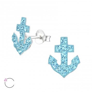 Anchor - 925 Sterling Silver Crystal Ear Studs A4S32812