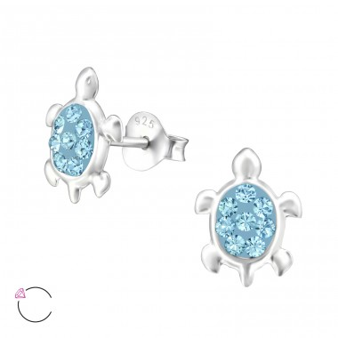 Turtle - 925 Sterling Silver Crystal Ear Studs A4S32813