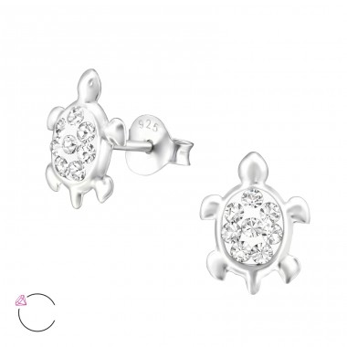 Turtle - 925 Sterling Silver Ear studs with crystals A4S32813