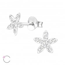 Flower - 925 Sterling Silver Crystal Ear Studs A4S32814