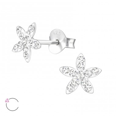 Flower - 925 Sterling Silver Ear studs with crystals A4S32814