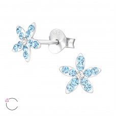 Flower - 925 Sterling Silver Crystal Ear Studs A4S32815