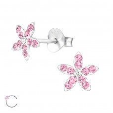 Flower - 925 Sterling Silver Crystal Ear Studs A4S32816