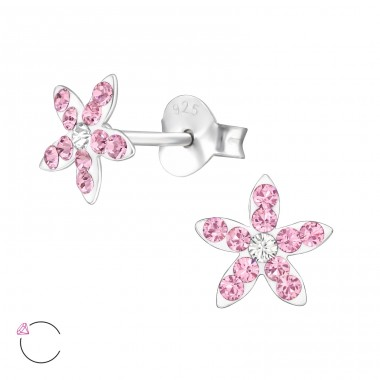 Flower - 925 Sterling Silver Ear studs with crystals A4S32816