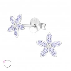 Flower - 925 Sterling Silver Crystal Ear Studs A4S32817