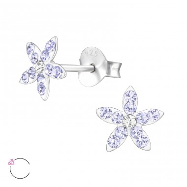 Flower - 925 Sterling Silver Ear studs with crystals A4S32817
