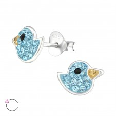 Bird - 925 Sterling Silver Crystal Ear Studs A4S32818