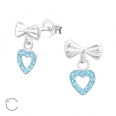 Bow With Hanging Heart - 925 Sterling Silver Crystal Ear Studs A4S32819
