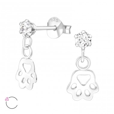 Paw Print - 925 Sterling Silver Crystal Ear Studs A4S32836