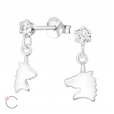 Unicorn - 925 Sterling Silver Crystal Ear Studs A4S32837