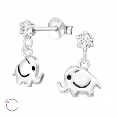 Elephant - 925 Sterling Silver Crystal Ear Studs A4S32838