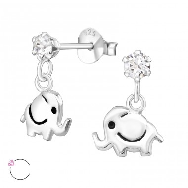 Elephant - 925 Sterling Silver Ear studs with crystals A4S32838