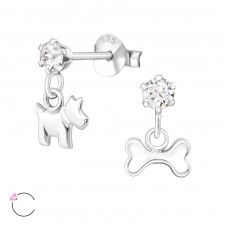 Silver Ear Studs With Hanging Dog And Bone With Crystals From Swarovski® - 925 Sterling Silver Crystal Ear Studs A4S32842