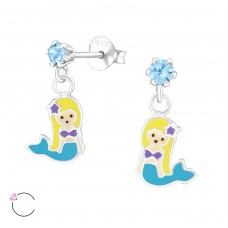 Hanging Mermaids - 925 Sterling Silver Crystal Ear Studs A4S32844