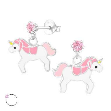 Hanging Unicorn - 925 Sterling Silver Crystal Ear Studs A4S32845