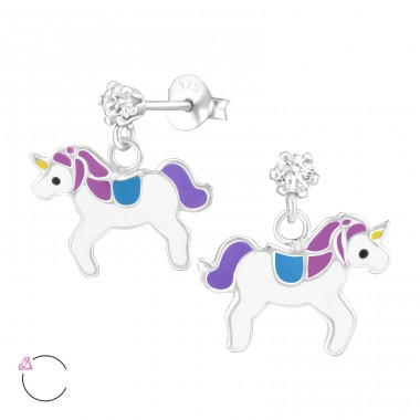 Hanging Unicorn - 925 Sterling Silver Ear studs with crystals A4S32846