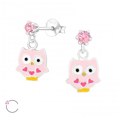 Hanging Owl - 925 Sterling Silver Crystal Ear Studs A4S32847