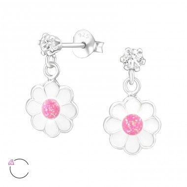 Hanging Flower - 925 Sterling Silver Crystal Ear Studs A4S32848